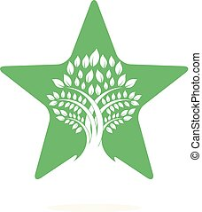 Star tree logo design.