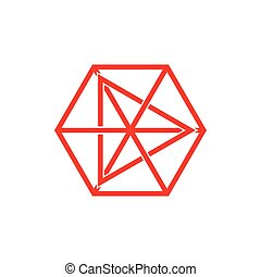 star triangle hexagonal linked line logo vector