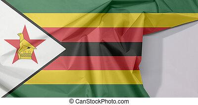 star., uccello, zebrato, zimbabwe, sette, black-edged, tessuto, crepe, orizzontale, giallo, spazio, verde, piega, bianco, nero rosso, bandiera