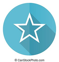 Star vector icon, flat design blue round web button isolated on white background