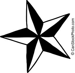 star - vector illustration sketch hand drawn with black lines, isolated on white background