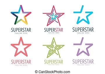Star vector logo icon template set. Leader, boss, winner, ...