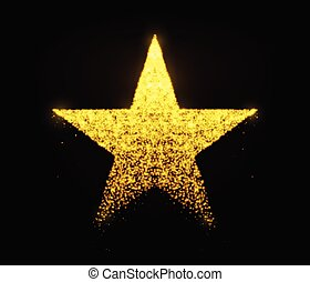 Star vector with glowing particles isolated on black background. Light golden star shape consist of glitter, glow, spark effect.