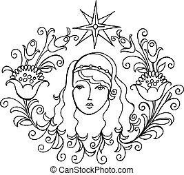 star, Venus - hand drawn, vector, black illustration in...