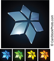 Star vibrant emblems. - Vector illustration of 3d shiny...
