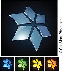 Star vibrant emblems. - Vector illustration of 3d shiny...