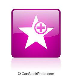 star violet square web glossy icon