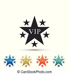Star VIP with circle of stars icon isolated on white background. Set elements in colored icons. Flat design. Vector Illustration
