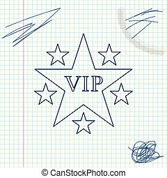 Star VIP with circle of stars line sketch icon isolated on white background. Vector Illustration