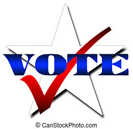 Illustration for voting featuring a white star