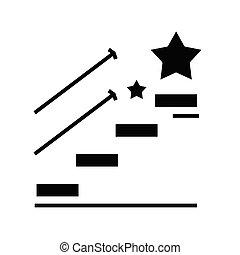 Star way black icon, concept illustration, vector flat symbol, glyph sign.