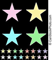 Star, white star collection with colored stripes coming out from above