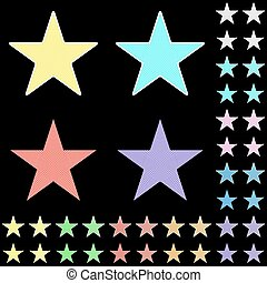 Star, white star collection with colored stripes leaving from the center