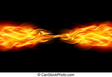 Abstract Flame - Star with Abstract Flame tail in Space