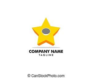 Star with Button Logo Design Vector Template