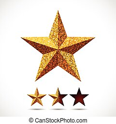 Star with glitter texture and rating template - Star with...