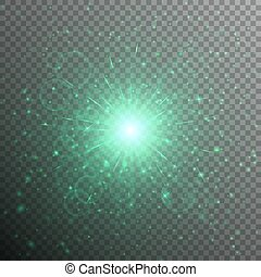 Star with green light