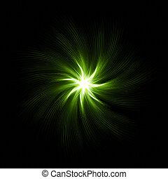 star with green spirals