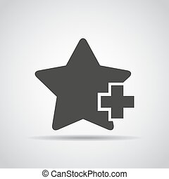 Star with plus icon with shadow on a gray background. Vector illustration