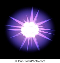 Star with rays white purple in space cosmos isolated on black ba