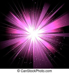 Star with rays white purple in space isolated and effect tunnel