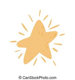 Star with sparkle isolated on white background. Success symbol.