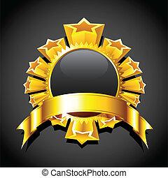 illustration of golden star around circular copy space