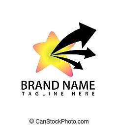 star with three arrow logo vector