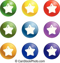 Star xmas icons set vector