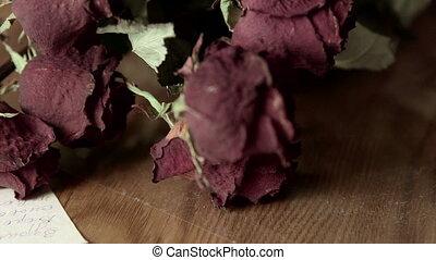 stara litera, bukiet, rocznik wina, róża, tło, wyblakły, ...