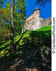 Stara Lubovna Castle of Slovakia on the hillside. beautiful...