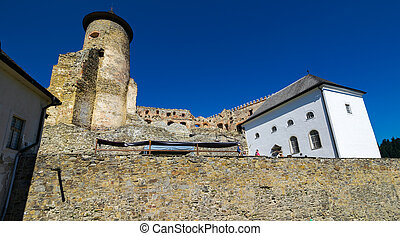 tall tower and main building of a castle - Stara Lubovna,...