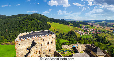 view from the top of castle wall - Stara Lubovna, Slovakia -...