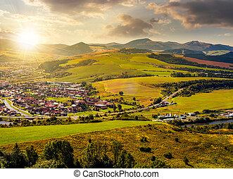 stara lubovna town in slovakia at sunset. lovely summer...