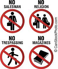 staranie się, komplet, znak, nie, symbol