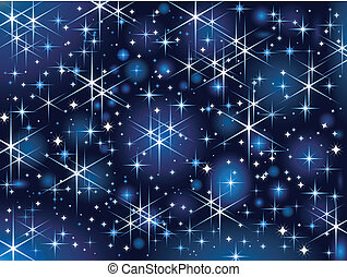 Dark blue background with glowing and sparkling stars.