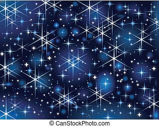 Starbright sky, Christmas sparkle - Dark blue background...
