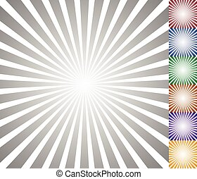 (starburst, abstract, radiaal, lijnen, model, sunburst), circulaire