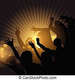 starburst, achtergrond, menigte, feestje