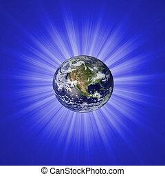 starburst, astratto, fondo, con, terra