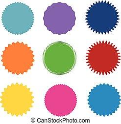 starburst, badges., 不同, 集合, 彙整, color., 顏色, 矢量, 九, icon., sunburst, 類型