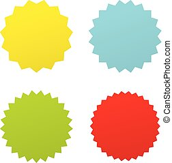 starburst, badges., diferente, jogo, co, quatro, vetorial, sunburst