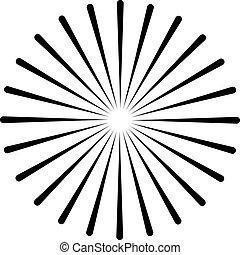 starburst, balken, abstract, stralen, vorm., vorm, fuseren, lines., white., radiaal, zonnestraal, geometrisch, stralen, element., circulaire