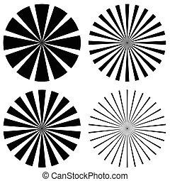 starburst, converger, set., lignes, forme, vecteur, sunburst, art.