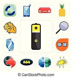 starburst, ensemble, icônes, batterie, chauve-souris, lunettes, foyer, gratuite, nerd, tigre, taureau, cerveau, groupe, podologie, lithium, professionnel