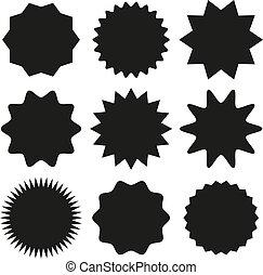 starburst, ensemble, illustration, vecteur, sunburst, insignes, design.