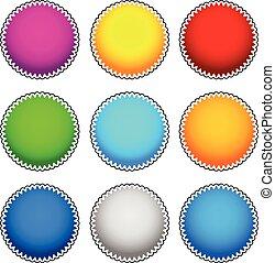 starburst, flash, coloré, set., vecteur, graphiques, écusson