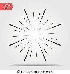 starburst, ontploffing, effect., stralen, element, lines., radiaal, komisch, zonnestraal