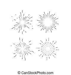 Starburst or sunburst collection. - Outline explosive...