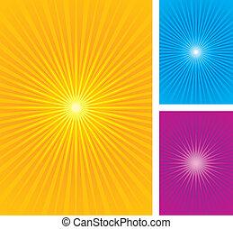 starburst, rövid napsütés, vektor, illustra